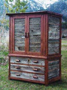Color of the wood is neat.  Probably helps to sit it outside by the mountains.  Isn't that where everyone puts an armoire?