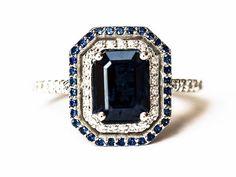 Platinum Sapphire and Diamond Halo Ring, 2 ctw, Emerald Cut Engagement Ring