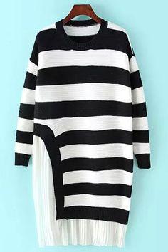 Pleated Chiffon Spliced Long Sleeve Sweater Dress
