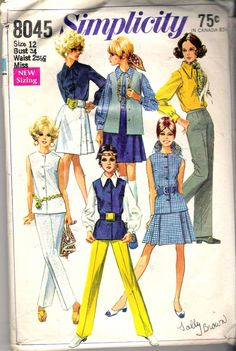 "Vintage 1968 Simplicity 8045 Mod Skirt, Blouse, Pants & Sleeveless Jacket Sewing Pattern Size 12 Bust 34"" by Recycledelic1 on Etsy"