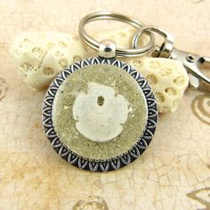 Sand Dollar Seashell Pendant Keychain / Purse Charm / Zipper Pull with Sand and Shell from Sanibel Florida by FloridaShellGirlShop on Etsy