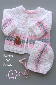 Crochet Baby Cardigan Free Pattern, Crochet Baby Jacket, Crochet Baby Sweaters, Gilet Crochet, Newborn Crochet Patterns, Baby Sweater Patterns, Baby Girl Sweaters, Baby Afghan Crochet, Baby Girl Crochet