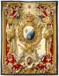 Tapestry: Portière aux Armes de France; woven under the direction of Etienne-Claude Le Blond (French, about 1700 - 1751, active at Gobelins, 1727 - 1751), Pierre-Josse Perrot (French, active 1724 - 1750), Gobelins Manufactory (French, founded 1662 - present); Gobelins, France; designed 1727, woven about 1730 - 1740; Wool and silk; modern cotton lining.