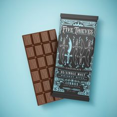 Five Thieves on Packaging of the World - Creative Package Design Gallery Label Design, Graphic Design, Package Design, Chocolate Packaging, Type Setting, Foil Stamping, Packaging Design Inspiration, Printing Process, Typography