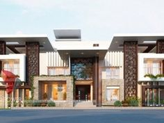 Modern Bungalow Design Dream Homes with all elevation elements Architecture Design, Minimalist Architecture, Modern Architecture House, Bungalow House Design, House Front Design, Cool House Designs, Modern House Facades, Modern Buildings, 3d Architectural Rendering