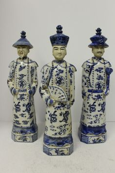 Rare Set of 3 Blue and White Porcelain Emperors Qing Dynasty Figurine