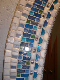 White Oval Mirror - Detail by Opus Mosaics