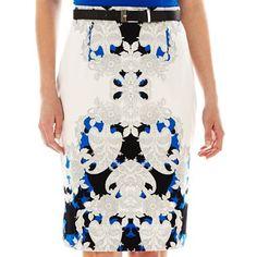 Worthington® Belted Sateen Pencil Skirt - jcpenney