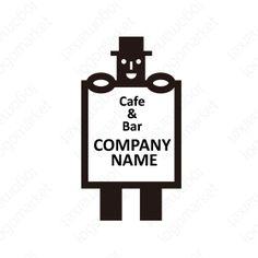 ロゴマーク「看板を持つ男」[BAR/飲食/CAFE](飲食、バー、小売、物販、サービス)