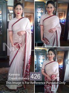 Kareena White With Red Self Thread Saree At Aimdeals.com