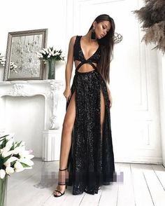 2018 Charming Sexy Sequin Sparkly Simple Rose Gold and Black Split Fashion Popular Prom Dresses, Evening dresses, Split Prom Dresses, Sequin Prom Dresses, Sequin Dress, Party Dresses, Dress Prom, Occasion Dresses, Pink Sequin, Pink Dresses, Homecoming Dresses