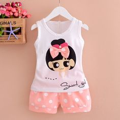 Cheap bebe suit, Buy Quality baby girl clothes directly from China newborn baby girl clothes Suppliers: Summer Cotton Set Newborn Baby Girl Clothes Flying Sleeve Vest+Polka Dot Shorts Baby Girl Outfits Kids Bebes Suits Girls Summer Outfits, Toddler Girl Outfits, Boy Outfits, Toddler Girls, Kids Girls, Baby Girls, Baby Girl Dress Patterns, Baby Dress, Baby Girl Fashion