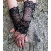 Black lace cuffs Lace Cuffs, Leg Warmers, Fingerless Gloves, Fairy, How To Wear, Accessories, Black, Fashion, Fingerless Mitts
