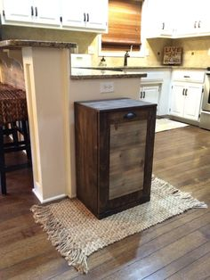 tilt out trash bin dark walnut cedar door recycle by Lovemade14