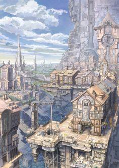 「時計塔と千の柱の街」/「K,Kanehira」のイラスト [pixiv]