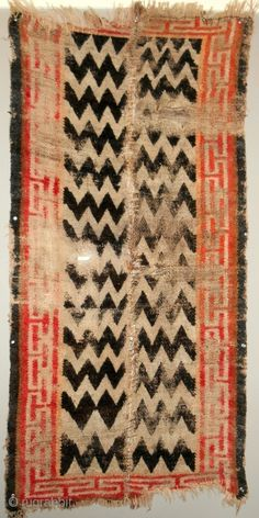 Early small Tibetan rug > Incredible zig-zag design > silky, silky wool!