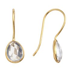 Pomegranate: Gold Vermeil Pebble Drop Crystal Earrings, set with playful pebble shaped, facet cut crystals. In luscious 18ct gold vermeil wire hook fittings. Member Stand number: ZB5