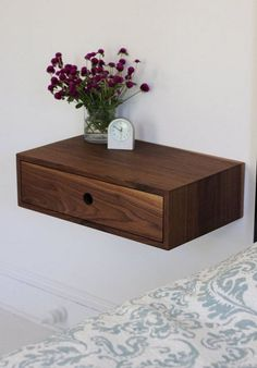 Floating Nightstand with Drawer / Mid Century Modern Bedside.-Floating Nightstand with Drawer / Mid Century Modern Bedside Table in Black Walnut Floating Nightstand with Drawer / Mid Century Modern Bedside Modern Bedside Table, Floating Nightstand, Floating Shelves, Nightstand Ideas, Rough Sawn Lumber, Birch Ply, Small Space Living, Tiny Living, Small Spaces