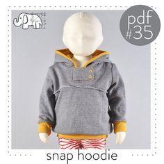 Kids hoodie pattern pdf snap neck tab unique par brindilleandtwig, $9.50