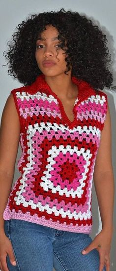 New Trend Granny Sqaure Crochet Top Pattern Ideas Part 23 ; granny square top crochet pattern free Hi, I agree with a handy baby dress that I knit very fondly Crochet Pattern Free, Crochet Poncho Patterns, Crochet Coat, Granny Square Crochet Pattern, Crochet Blouse, Top Pattern, Crochet Clothes, Pattern Ideas, Crochet Baby