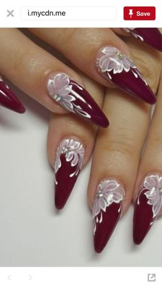 Acrylic Nail Designs For Fall and Winter Cute Acrylic Nails, Acrylic Nail Designs, Cute Nails, Nail Art Designs, Pretty Nail Art, Beautiful Nail Art, Gorgeous Nails, Burgundy Nails, Red Nails