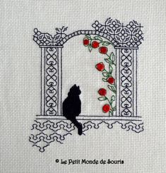 Cat on the window - blackwork