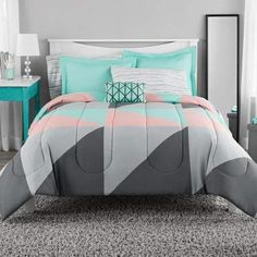 Better Homes Gardens Full Or Queen Blooming Roses Teal Comforter Set 7 Piece within sizing 1500 X 1500 Teal Bedroom Sets - An extra room is really a room Grey And Teal Bedding, Teal Bedding Sets, Teal Comforter, Bedroom Comforter Sets, Queen Bedding Sets, Gray Bedroom, Bedroom Bed, Bedroom Decor, King Comforter