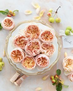 A plate of David Austin Juliet (Ausjameson) roses. What more do you need for your wedding decorations!?