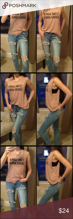 """Kinda Sweet.....Tank Kinda sweet, kinda savage! You will love this super soft & stretchy tank that's perfect for those casual weekends! Rounded scoop neck with extended arm holes. Perfect addition to any outfit. A beautiful taupe color.   ▪️Material: 95% Rayon 5% Spandex  ▫️Made in the USA   ▪️Length: 24"""" from Shoulder to hem on size small ▫️ Shown with the Dawn jeans available in my closet   ▪️Use the """"buy now"""" or """"add to bundle"""" to purchase Tops Tank Tops"""