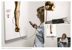 A brilliant blood donation campaign! Publicis Sao Paulo and Fundação Pró-Sangue teamed up to create a special poster that can be used to recharge your phone while it's asking you to donate some blood. Interactive Poster, Interactive Marketing, Email Marketing Strategy, Interactive Design, Marketing Ideas, Experiential Marketing, Guerrilla Advertising, Creative Advertising, Advertising Campaign