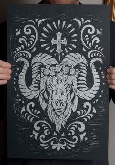 Stock de Espíritu de la Cabra - 12.5 x 19 Block Print - negro