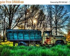 SALE 20% Off Old Truck Photograph at Sunrise, Color Photography, Chevrolet, Country, Rust, Spring, Trees, HDR Color Photograph, Farm, Art Pr