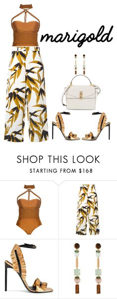 """#marigold"" by ekaterinaaivazyan ❤ liked on Polyvore featuring Lenny, Marni, Yves Saint Laurent, Henri Bendel and marigold"