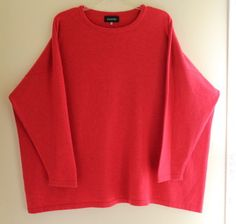 NEW-Eskandar-O-S-Watermelon-Pink-Red-100-Cashmere-Medium-Weight-Crewneck-Sweater
