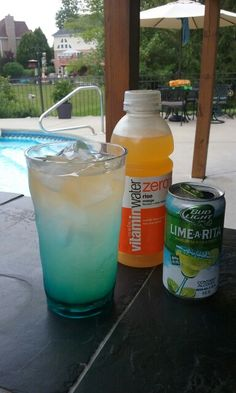 This is my new low calorie skinny summertime drink. Lime A Rita ( or any flavor ) Vitamin Water Zero ( any flavor ) Here I used Lime A Rita with Orange flavor Vitamin Water Zero. So delicious and refreshing!