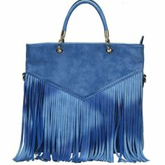 .Blue Fringe Indie Inspired Decorated purse Blue Fringe Indie Inspired Decorated Tote Hand Bag Bags Totes