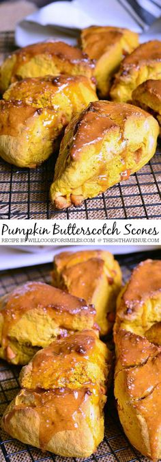 Recipes - Scrumptious warm pumpkin scones made with butterscotch chips inside and topped with gooey caramel and salt.