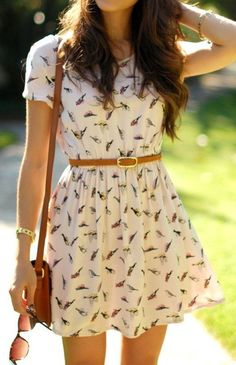 Beige Birds Print Short Sleeve Dress - Mini Dresses - Dresses W/ toms or flats or converse or flip flops August 27