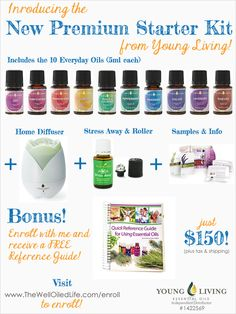 Introducing the New Premium Starter Kit from Young Living!  Now Includes Joy Oil AND a Home Diffuser!  Enroll with ID #1422569 and get a FREE Reference Guide!  www.thewelloiledlife.com/enroll