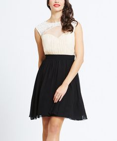 Take a look at this Cream & Black Embellished Cutout Dress on zulily today!