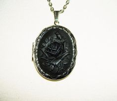 BLACK Rose Cameo Necklace Locket Pendant by GoodGalGoneBead, $26.00