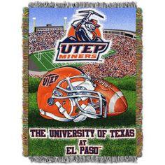 Ncaa 48 inch x 60 inch Tapestry Throw Home Field Advantage Series- Texas El Paso, Green