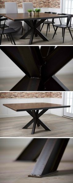 New Wood Table Rustic Dining Projects 32 Ideas Dark Wood Kitchen Cabinets, Light Wood Kitchens, Kitchen Wood, Wood Tile Bathroom Floor, Wood Tile Floors, Dining Room Colors, Dining Rooms, Wood Table Rustic, Wood Tables