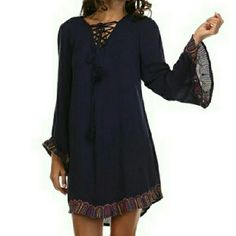 *SALE* Navy Embroidery Tunic Dress (2 avail) Tea and Cup - Navy Embroidery Tunic Dress 100% cotton - very soft & beautiful! (Dress is lined so it's not see through.)   (Lowest = $27 -> ask me to make a personal listing for you!) Tea n Cup Dresses