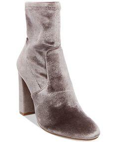 bf358cff4f1 Steve Madden Women s Brisk Velvet Block-Heel Sock Booties Shoes - Boots -  Macy s