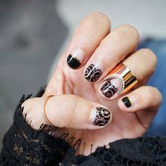 Vita Fede nail art for the CFDA Awards. Black lace French mani design- hand painted!!