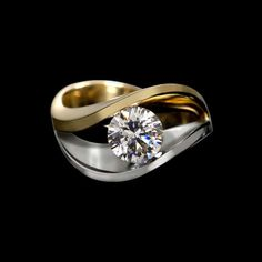 Jewelry Rings covet duo diamond ring - Covet duo diamond ring is curvaceous and enchanting. This setting in two tones of gold features sweeping curves, dramatically presenting your center stone. Diamond Ring Settings, Gold Diamond Rings, Diamond Jewelry, Peridot Jewelry, Emerald Rings, Emerald Jewelry, Diamond Earrings, Black Diamond, Gold Rings