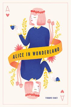 A book cover for Alice in Wonderland inspired by playing cards and the mad tea party.