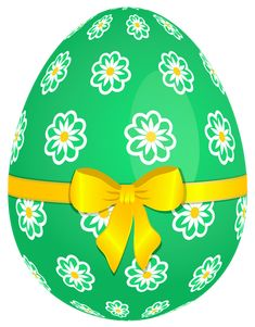 Green Easter Egg with Flowers and Yellow Bow PNG Picture