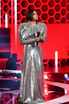 Red And Black Gown, Balmain Dress, Taraji P, Ralph And Russo, Denzel Washington, American Music Awards, Cool Style, In This Moment, Womens Fashion